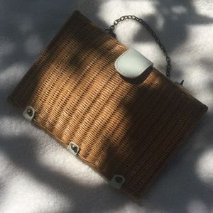 BOHO CLUTCH BAG, rattan and faux leather